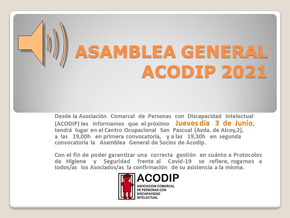 Asamblea General de Socios de Acodip Junio 2021